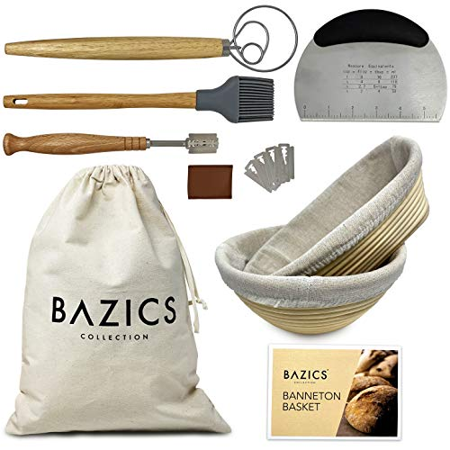 PREMIUM QUALITY COMPLETE 9 Pcs Banneton Proofing Basket Set of 2 | Sourdough Starter Kit |Bread Baking Set 9 & 10 Inch Round and Oval Proofing Bowl | Bread making Tools and Supplies | Proofing Baskets