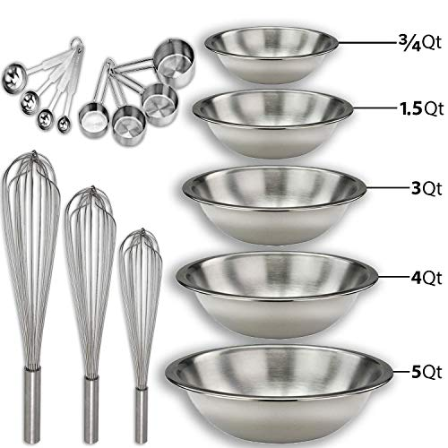 """Stainless steel Mixing Bowls Set and Baking Utensils Kit Includes: ¾, 1.5, 3, 4, and 5 Qt. Mixing Bowl + 10"""", 12"""" and 14"""" Hand Whisk + 8 Piece Measurement Cups and Spoons Set."""