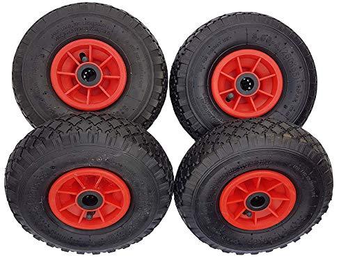 4 x Frosal Luftrad | Nabe 20 mm | Ersatzrad für Bollerwagen mit Radbefestigung 260 x 85 mm 3.00-4 | Rad Sackkarre | Bollerwagenrad | Sackkarrenrad Lufträder