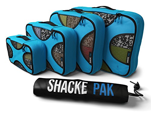 Shacke Pak - 5 Set Packing Cubes - Travel Organizers with Laundry Bag (Aqua Teal)