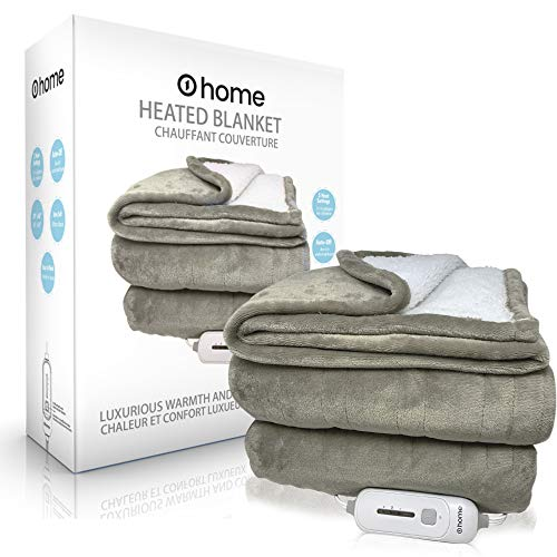 """Premium Heated Blanket, Ultra Soft, 50""""x 60"""" (Throw Size), Grey, Electric Blanket, Plush Blanket, Heated Throw Blanket, Auto Shut Off, Perfect for Warmth and Snuggles, o1home"""