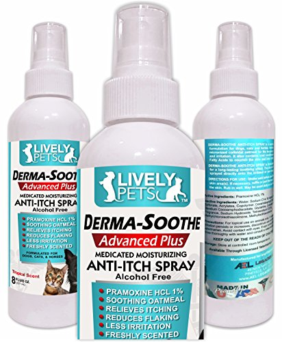 Lively Pets Premium Itch Relief Spray for Dogs and Cats - Pramoxine and Oatmeal for Dry Itchy Skin: Great for Allergies, Dry Skin, and Rashes