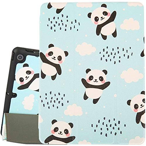 Hi Space iPad 10.2 Case Pandas 2019 Blue iPad 7th Generation Case with Pencil Holder, Cute Animal Slim Stand Back Shell Protective Smart Shockproof Cover with Auto Sleep/Wake for A2197 A2198 A2200