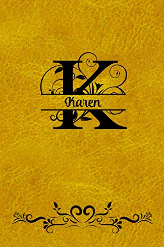 Split Letter Personalized Name Journal - Karen: Elegant Flourish Capital Letter on Gold Leather Look Background