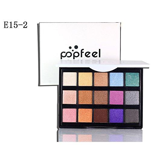 15 Farben Lidschatten Palette Super Glitzer Hochpigmentiert High End Make-up Palette Lidschatten...