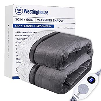 Westinghouse Electric Blanket Heated Throw   6 Heating Levels & 4 Hours Auto Off   Flannel to Sherpa Reversible 50x60   Machine Washable,Grey