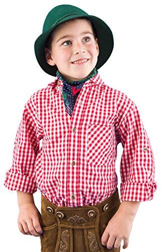 Isar-Trachten Trachtenhemd Kinder Jungen 52915 Trachtenhemd rot Kariertes Hemd Kinder Jungen Kinderhemden Jungen - 86