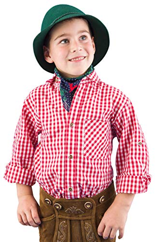 Isar-Trachten Trachtenhemd Kinder Jungen 52915 Trachtenhemd rot Kariertes Hemd Kinder Jungen Kinderhemden Jungen - 80
