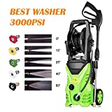 Homdox 3000 PSI Pressure Washer,1.80 GPM Electric Pressure Washer,Electric Power Washer with 5 Quick-Connect Spray,Hose Reel and Rolling Wheels