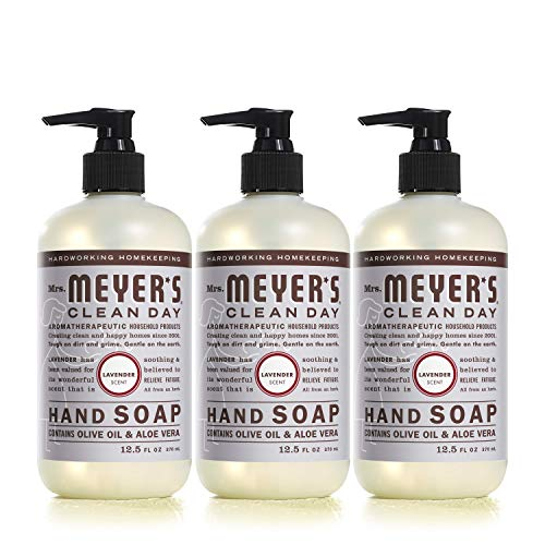 Mrs. Meyer's Clean Day Liquid Hand Soap, Cruelty Free and Biodegradable Hand Wash Made with Essential Oils, Lavender Scent, 12.5 oz - Pack of 3