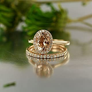 Balance-VS Diamond 9X7 MM Oval Morganite In 14K Rose Gold Halo Engagement Ring and 14K White Gold Half Eternity Diamond Wedding Band Bridal Set