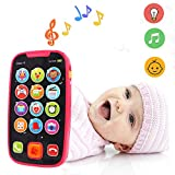 LUKAT Früherziehung Lernspielzeug Baby Smartphone Spielzeug für ab 12 Monate, Touch Phone mit Sound und Musik, Zahlen, mehr heran