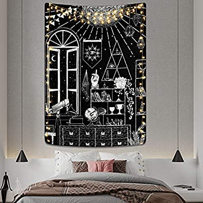 Moon Altar Tapestry Tarot Gothic Tapestry Black and White Tapestry Sacred Witchcraft Tapestry Wall Hanging for Room (51.2 x 59.1 inches)