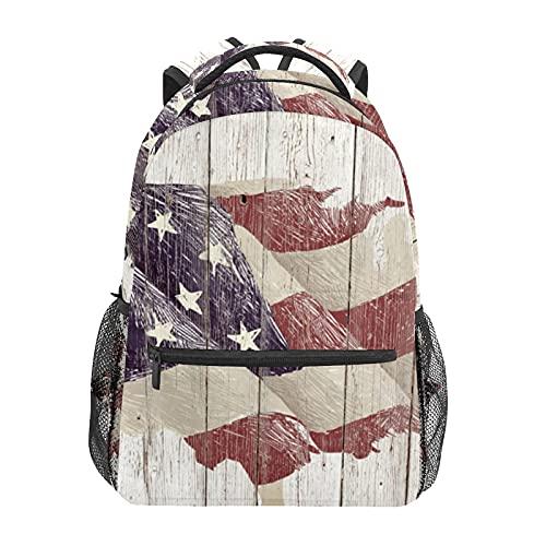 Mochila escolar rústica bandera americana madera estudiante viajes senderismo camping mochila casual libro bolsas bolsa de hombro