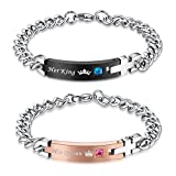 COAI His Queen Her King Stainless Steel Matching Bracelets for Couple