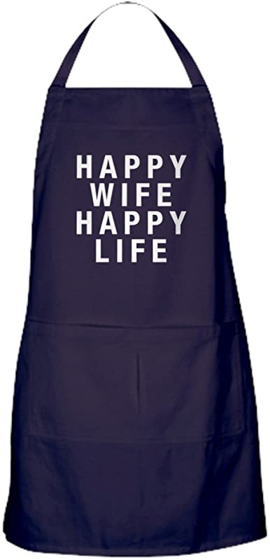 CafePress Happy Wife Happy Life Dark Kitchen Apron With Pockets Grilling Apron Baking Apron