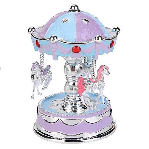 Musiklådor Ornament Merry Go Round musiklåda, nyhet LED-karusell musikbox leksaker jul födelsedagspresent karusell musikbox f u r flickvän (Blå)