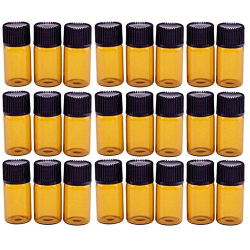 Hacoly 24 Pcs 3 ML Ambre Brown Verre Bouteilles D'huile Essentielle avec Orifice Réducteur et Screwcap Vide Liquide Petit Échantillon Collection Flaco