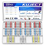 Kuject 120PCS Solder Seal Wire Connectors, Self-Solder Heat Shrink Butt Connector Solder Sleeve Waterproof Insulated Electrical Butt Splice Wire Terminals for Marine Automotive Boat Truck Wire Joint