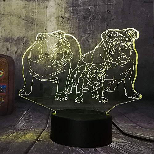 Veilleuse Chiot mignon famille bulldog 3D led veilleuse mignon chien table des animaux famille sommeil maison décoration lampe enfant enfant