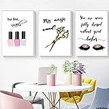 Fvfbd 3 Piezas/Set Maquillaje Cita Carteles Esmaltes de uñas Pestañas Impresiones Lienzo Pintura Imágenes de Pared para niña Señora Vestidor Salón Decoración de Arte Sin Marco