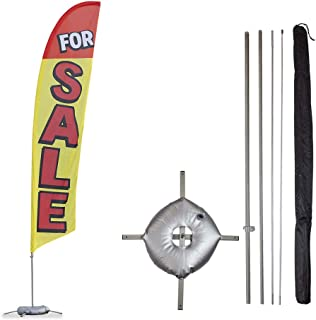 Vispronet for Sale Feather Flag Kit - 13.5ft Flag Complete with Pole Set, Cross Base and Weight Bag (Yellow with Red Letters) Businesses, Houses, Apartments - Printed in The USA