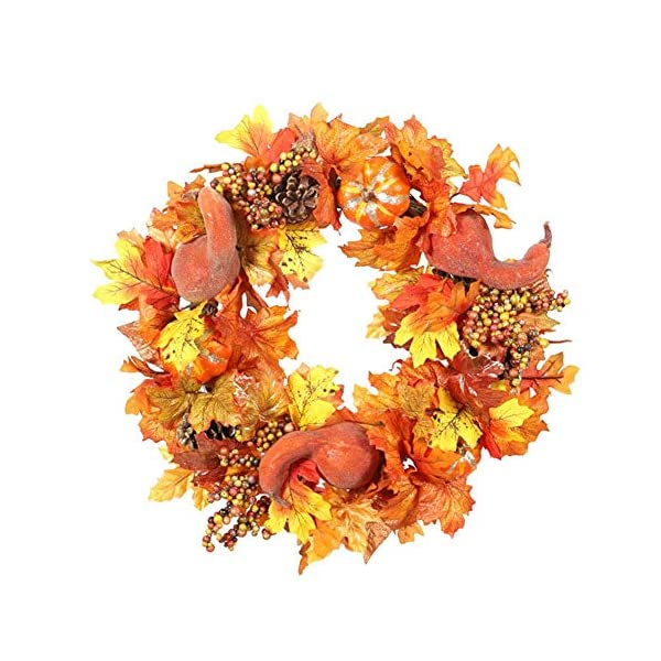 Fall Wreath, 18 inch Artificial Fall Wreath for Front Door, Christmas Wreaths with Pumpkins, Pinecone, Maple Leaf and Berry, Halloween Easter Wreath, Thanksgiving Day Indoor or Outdoor Decor