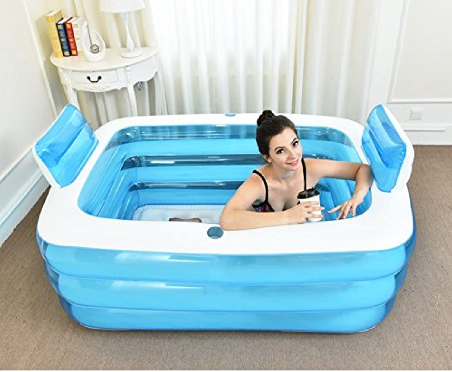 LybCvad Inflatable bathtub bath barrel adult plastic large household adult couple inflatable bath basin double thick bath barrel bath pool transparent bluee 1.5 meters back