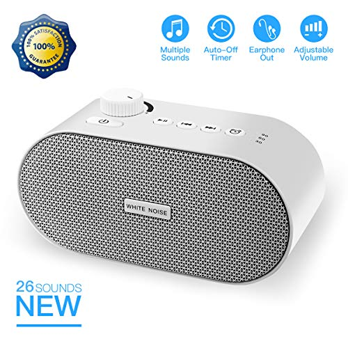 KAILEDI White Noise Machine, Portable Sleep Sound Therapy Machine with 26 Non-looping Soothing Sounds, USB Output Charger, Travel Sleep Auto-Off Timer for Baby Kids Adults