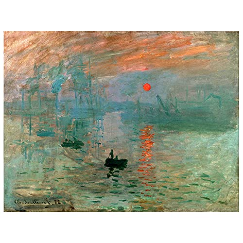 Legendarte - Cuadro Lienzo, Impresión Digital - Impresión. Sol Naciente - Claude Monet - Decoración Pared cm. 40x50