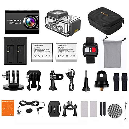 【2019 New】Apexcam Action cam 4K 20MP Sportkamera EIS WiFi Wasserdichte Unterwasserkamera 40M Externes Mikrofon 2.0'LCD 170 ° Weitwinkel 2,4G Fernbedienung 2x1200mAh-Batterien und mehrere Zubehörteile - 7