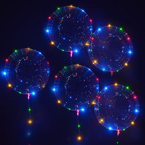 LED BoBo Palloncino con Luce Stringa MKT 18 Pollici trasparente per Festa Compleanni Matrimoni Natale Decorazioni ( 5 pezzi )