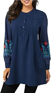 MogogN Women's Office Lantern Sleeve Patterned Elegent Tops Plus-Size Henley Shirt