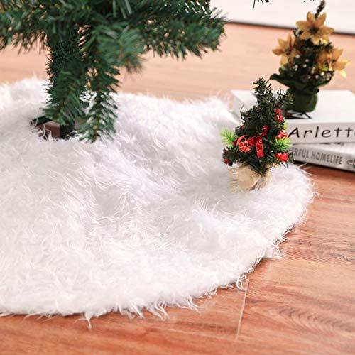 Huntfgold Plüsch Weihnachtsbaumdecke Weiß Weihnachtsbaum Rock für Weihnachtsbaum Dekoration 90cm