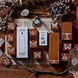 Lychii Legno Timbro di Gomma, 8PCS Vintage Guarnizione in Gomma, Esemplare di Farfalla & Copertura in Vetro Serie Timbri per DIY, Riviste, Bullet Journal, Confezioni Regalo e Scrapbooking