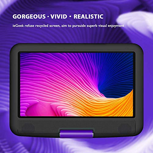 """ieGeek 11.5"""" Portable DVD Player with SD Card/USB Port, 5 Hour Rechargeable Battery, 9.5"""" Eye-protective Screen, Support AV-IN/OUT, Region Free, Purple"""