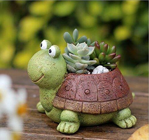 Macetas de plantas, lindas macetas con forma de animales de dibujos animados florero macetas, contenedores, macetas de decoración del hogar, mini ornamento de escritorio (tortuga)