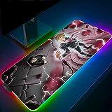 Psicosis de la Mafia Alfombrillas de ratón Juegos Anime RGB Alfombrillas de ratón Grande Ordenador Alfombrilla de Escritorio Borde Bloqueado XXL de 23,62 X 11,8 X0,16 Pulgadas