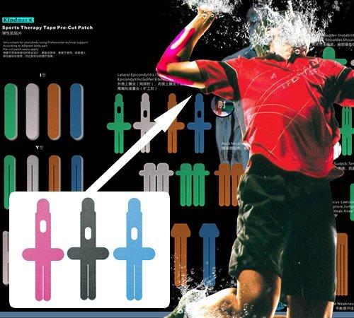 Kindmax Pre-Cut Tapes Elbow 31cm x 13,5cm für den Ellenbogen Kinesiologie Tape + Tapes4you Aufkleber (Pink)
