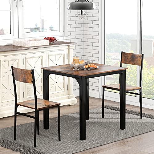 ModernLuxe Sitzgruppe, Esszimmergruppe Esstisch mit 2 Stühlen, für Balkon & Esszimmer & Wohnzimmer, Vintagebraun