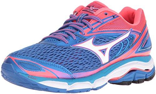 Mizuno Women's Wave Inspire 13 Running Shoe, Malibu Blue/Pink, 6 B US