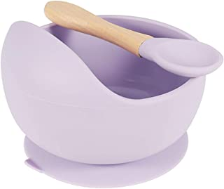 QINREN Baby Feeding Bowl and Wooden Spoon Set, Baby Silicone Bowl with Suction BPA Free Non Slip Baby Dinner Set Silicone Weaning Spoon Bowl Unbreakable Light Teething Bowl Weaning Bowl for Toddler