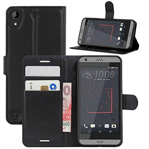 HualuBro HTC Desire 530 Hülle, Premium PU Leder Leather Wallet HandyHülle Tasche Schutzhülle Flip Case Cover für HTC Desire 530 Smartphone (Schwarz)