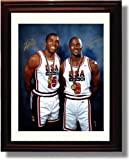 Framed Michael Jordan and Magic Johnson Autograph Replica Print - USA Dream Team