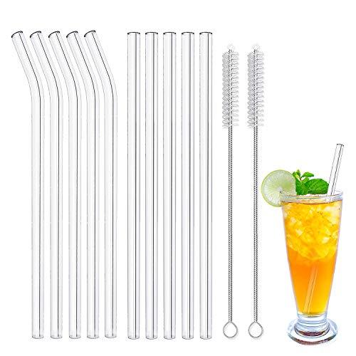 Cannucce In Vetro – 21.5 cm x 10 mm Ecologico Riutilizzabile Vetro Cannuccia Per Frullati, Cocktail e Bevande Calde – Set di 10 con 2 Spazzola di Pulizia