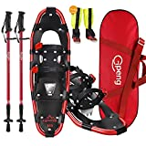 Gpeng 4-in-1 Xtreme Lightweight Terrain Snowshoes for Men Women Youth Kids, Light Weight Aluminum Alloy Terrain Snow Shoes with Trekking Poles and Free Waterproof Leg Gaiters, 14'/21'/25'/27'/30'