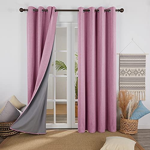Deconovo Cortinas Salon Dormitorio Moderno para Ventanas de Habitación Juvenil con Ojales Juego de 2 Paneles 117 x 183 cm Rosa
