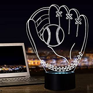 FULLOSUN Night Lights for Kids Baseball Glove Model Illusion 3D Night Light Bedside Lamp 16 Colors Changing with Remote Control Best Birthday Gifts for Boy Baby