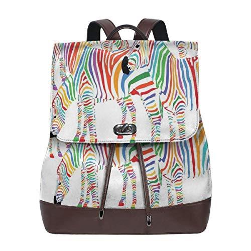 Women's Leather Backpack,Colorful Cute Animal Herd with Rainbow Stripes Figure Digital Art Print Modern Safari,School Travel Girls Ladies Rucksack