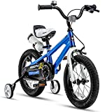 RoyalBaby Kids Bike Boys Girls Freestyle BMX Bicycle with Training Wheels Gifts for Children Bikes 12 Inch Blue